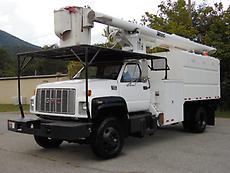 1998 GMC C7500 ALTEC 55' LIFT BOOM/BUCKET CHIPPER DUMP TRUCK
