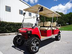 CUSTOM CLUB CAR LIMO GAS POWERED LIFTED 6 PASSENGER GOLF CART