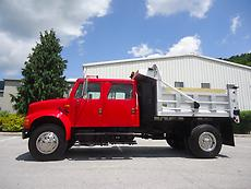 INTERNATIONAL 4900 CREW CAB SINGLE AXLE DUMP TRUCK ALUMINUM BED ELECTRIC TARP