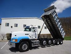 MACK CL713 QUINT SIX AXLE 20 FT ALUMINUM BED DUMP TRUCK