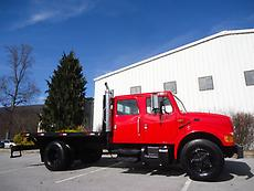 1995 INTERNATIONAL 4700 CREW CAB 4 DOOR 12 FT FLATBED TRUCK 7.3 444 POWERSTROKE