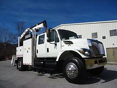 2008 INTERNATIONAL 7300 CREW CAB 4 DOOR SERVICE CRANE TRUCK IMT 5200 PTO WETLINE