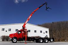 FORD LT9513 TRI-AXLE FLATBED CRANE KNUCKLE BOOM DRYWALL SHINGLE DELIVERY TRUCK